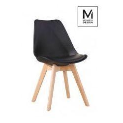 Modesto design Modesto krzesło plastikowe z poduszką nordic czarne - podstawa dębowa
