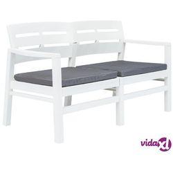 vidaXL Ławka ogrodowa z poduszkami, 2-os., 133 cm, plastik, biała (8718475743194)