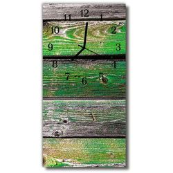Tulup.pl Zegar szklany pionowy deski drewniane mech zielony