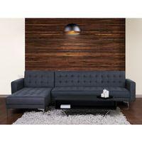Sofa szaroniebieska - kanapa - tapicerowana - rozkładana - ABERDEEN, kolor niebieski
