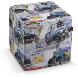 pufa kostka twarda, samochody retro, 40x40x40 cm, freestyle marki Dekoria