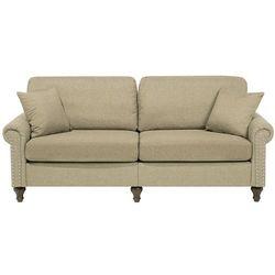 Sofa trzyosobowa tapicerowana jasnobrązowa OTRA