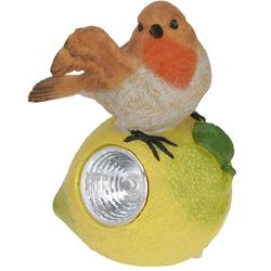 Lampa solarna ptaszek na owocu figurka kamienna - Wzór II