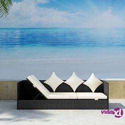 vidaXL Sofa ogrodowa z poduszkami, polirattan, czarna (8718475904816)