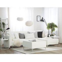 Sofa rozkładana skóra ekologiczna biała lewostronna z otomaną aberdeen marki Beliani