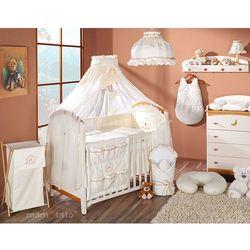 pościel 5-el miś z serduszkiem ecru do łóżeczka 60x120cm - moskitiera marki Mamo-tato