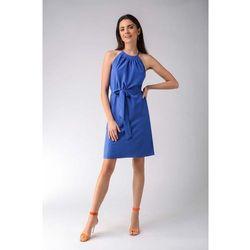 Kobaltowa trapezowa sukienka wiązana na karku marki Nommo