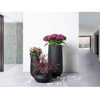 Doniczka czarna - ogrodowa - balkonowa - ozdobna - 22x22x55 cm - annecy marki Beliani