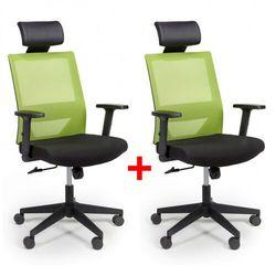 Krzesło biurowe z oparciem z siatki WOLF, regulowane podłokietniki, plastikowy krzyżak, 1+1 GRATIS, zielone