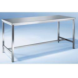 Stół warsztatowy ze stali szlachetnej, 1 podpora środkowa, szer. 1200 mm. Ze sta