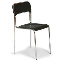 Plastikowe krzesło kuchenne aska, czarny - chromowane nogi marki B2b partner
