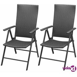 vidaXL Krzesła ogrodowe, 2 sztuki, polirattan, aluminium, czarne (8718475504016)