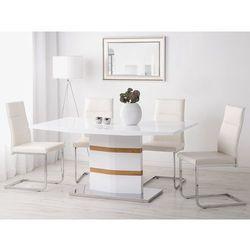 Beliani Stół do jadalni biały/dębowy stal nierdzewna 160 x 90 cm fremont (4260602372127)