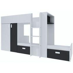 Vente-unique Łóżko piętrowe julien – 2 × 90 × 190 cm – szafa – kolor biało-czarny