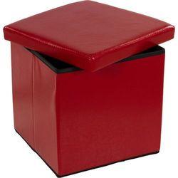 Pufa ze schowkiem składana ciemno czerwona