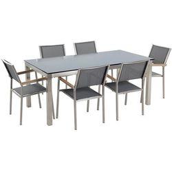 Beliani Stół szklany czarny - 180 cm - z 6 szarymi krzesłami - grosseto