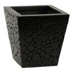 Pojemnik z powierzchnią z drewnianych pieńków, czarny, 17 x 17 x 17 cm, 17 x 17 x 17 cm - produkt z kategorii- Doniczki i podstawki
