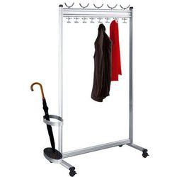 Szeregowy stojak na garderobę, wys. x gł. 1700x400 mm, ze stojakiem na parasole,