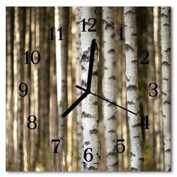 Zegar szklany kwadratowy brzozy las drzewo marki Tulup.pl