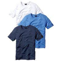 T-shirt (3 szt.) Regular Fit bonprix niebieski + biały + ciemnoniebieski
