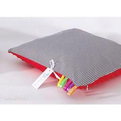Mamo-tato poduszka minky dwustronna 40x40 pepitka czarna / czerwony
