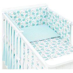 3-el dwustronna pościel dla niemowląt jeżyki turkus / mini kropki turkus do łóżeczka 60x120cm marki Mamo-tato