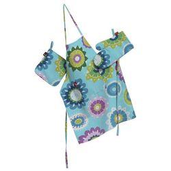 Dekoria Komplet kuchenny łapacz, rękawica oraz fartuch, kolorowe kwiaty na błękitnym tle, kpl, Wyprzedaż do -30%