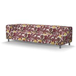 Dekoria Pokrowiec na sofę Klippan 4-osobową, żółto-brązowe kwiaty, Sofa Klippan 4-osobowa, Wyprzedaż do -30%, kolor brązowy