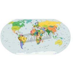 Naklejka Globalna mapa polityczna świata, stolic i większych miast włączone - oferta [25f9e50a91e27689]