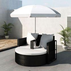 vidaXL Rattanowa sofa z parasolem (Czarna) ze sklepu VidaXL