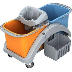 Wózek do sprzątania dwuwiadrowy 2 x 20 litrów z wyciskarką do mopa i koszyczkiem TS20016 Splast