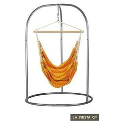 La siesta Zestaw hamakowy: dwuosobowy fotel hamakowy carolina ze stojakiem romano, pomarańczowy cac16roa16