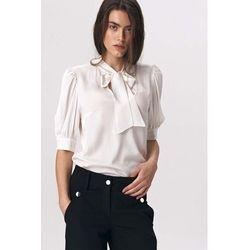 Nife Ecru romantyczna bluzka z wiązaną szarfą