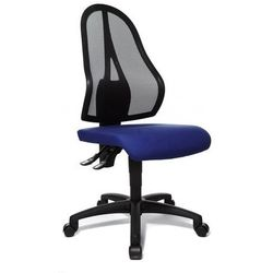 Obrotowe krzesło biurowe, czarne oparcie siatkowe, bez poręczy, obicie siedziska