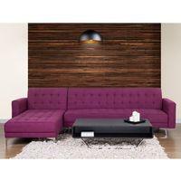 Sofa fioletowa - kanapa - tapicerowana - rozkładana - narożnik - ABERDEEN z kategorii Narożniki