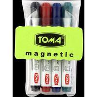 Zestaw do tablic suchościeralnych  to-266 (4 markery+ścierak) marki Toma