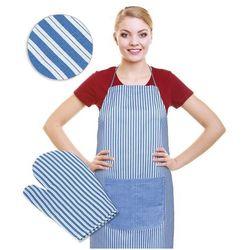 Fartuch z rękawicą kuchenną pasek niebieski, marki Bellatex