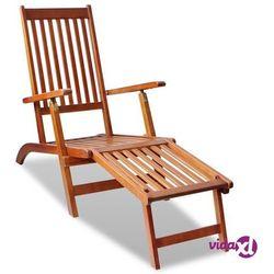 leżak tarasowy z podnóżkiem, lite drewno akacjowe marki Vidaxl