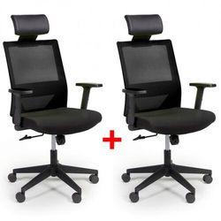 B2b partner Krzesło biurowe z oparciem z siatki wolf, regulowane podłokietniki, plastikowy krzyżak, 1+1 gratis, czarne