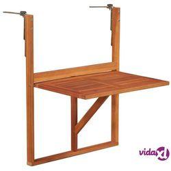 vidaXL Wiszący stolik balkonowy, 64,5x44x80 cm, lite drewno akacjowe, kolor brązowy