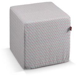 Dekoria  pufa kostka twarda, przestrzenny wzór w różowo-szarej kolorystyce, 40x40x40 cm, rustica