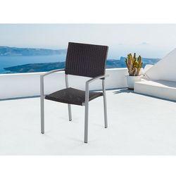 Meble ogrodowe brązowe - krzesło ogrodowe - rattanowe - balkonowe - tarasowe - torino marki Beliani