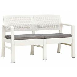 Biała ławka ogrodowa z poduszkami - Hilda