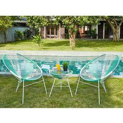 Salon ogrodowy ALIOS II z technorattanu – kolor biały, szary, zieleń toni wodnej: 2 krzesła i stół