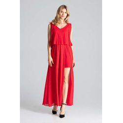 Czerwona warstwowa maxi sukienka wiązana na ramionach