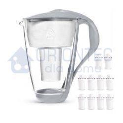 Dzbanek filtrujący szklany crystal led stalowy 2l + 10 wkładów classic marki Dafi
