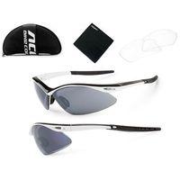 610-40-91_ACC Okulary Accent SHADOW biało-czarne, 2 pary soczewek: szare lustrzane, przezroczyste