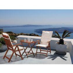 Meble ogrodowe - balkonowe - drewniane - stół z 2 krzesłami z 2 kremowymi poduchami - TOSCANA