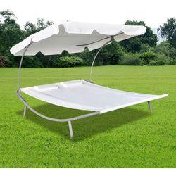 Podwójny leżak z baldachimem i 2 poduszkami, kremowy marki Vidaxl