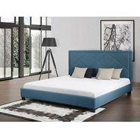 Łóżko granatowe - łóżko tapicerowane - 160x200 cm - MARSEILLE